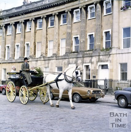 Bath Carriage Museum horse drawn carriage outside the Royal Crescent, Bath, c.1980