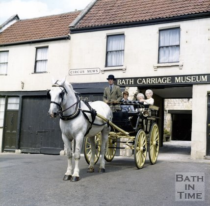 Bath Carriage Museum horse drawn carriage outside Circus Mews, Bath, c.1980