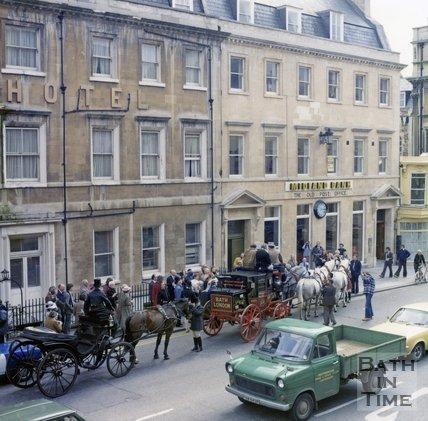 Bath Mail Coach outside the Royal York Hotel, George Street, Bath, c.1980