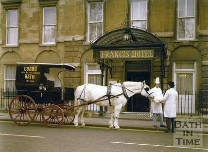 Cobbs Bakers Horse Drawn Carriage outside the Francis Hotel, Queen Square, Bath, c.1980