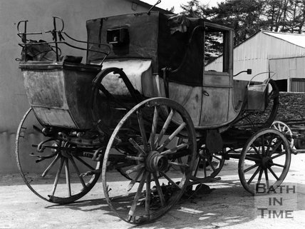 Unrestored horse drawn carriage at an unknown location, c.1973