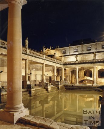 The Roman Baths at night time, c.1980