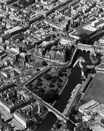Aerial view of Parade Gardens and the River Avon, Bath, c.1973