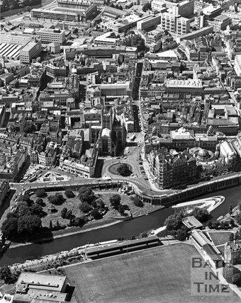 Aerial view of Parade Gardens, the city centre and the River Avon, Bath, c.1973