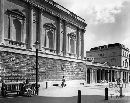 The Pump Room and entrance to King's and Queen's Bath, c.1973