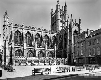 Bath Abbey viewed from Kingston Parade, c.1973