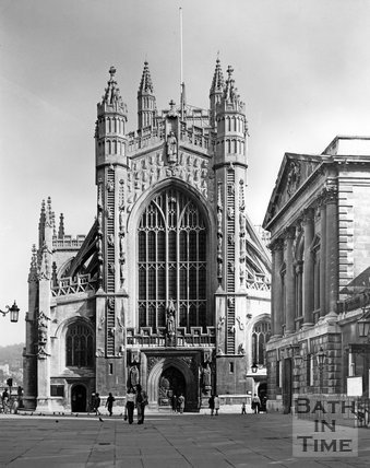 The West front of Bath Abbey, c.1973