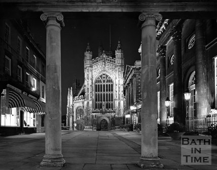The West front of Bath Abbey viewed from Stall Street, c.1973