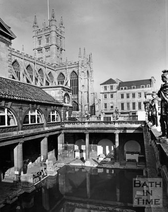 The Roman Baths with Bath Abbey in the background, c.1973