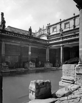 The Roman Baths with the Bath Laundry arch in the background, c.1973