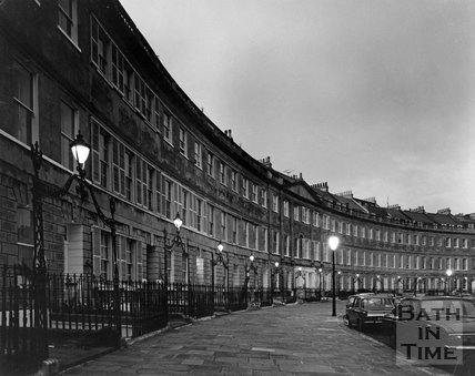Lansdown Crescent at twilight, Bath, c.1973