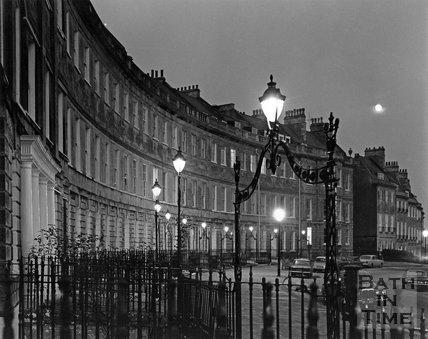 Lansdown Crescent at twilight, Bath, c.1973
