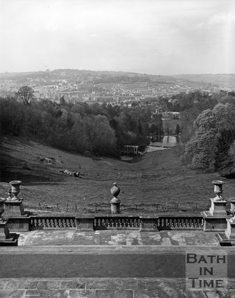 View of the Palladian Bridge from Prior Park, Bath, c.1973