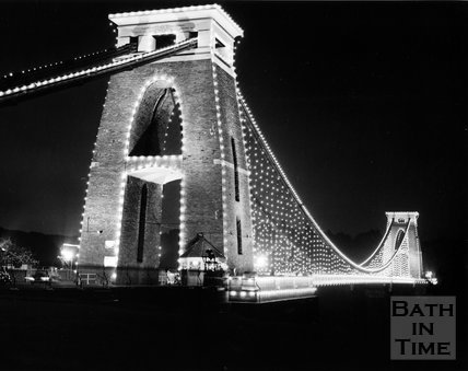 The floodlit Clifton Suspension Bridge, Bath, c.1973
