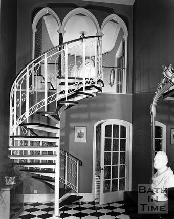 Interior spiral staircase at the Circus, Bath, c.1972