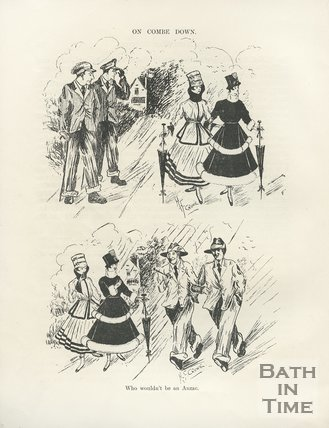Cartoon of people around Combe Down, 1917