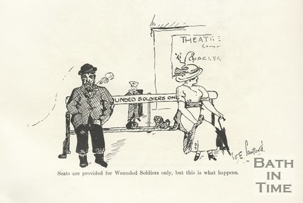 Cartoon of wounded soldiers, possibly at Bath Spa station, 1917