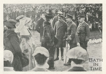 King George V and Queen Mary meeting the Commandant of Bath War Hospital, 9th November 1917