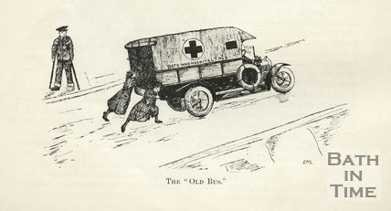 Cartoon of the Old Bus, Bath War Hospital ambulance, 1917