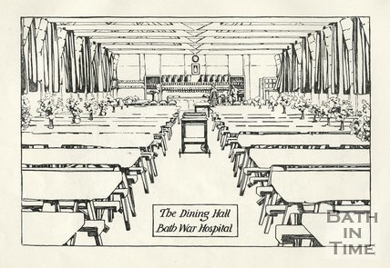 Illustration of the Dining Hall, Bath War Hospital, 1917