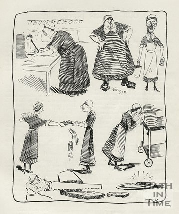 Cartoon of Dining Hall Helpers at Bath War Hospital, 1917