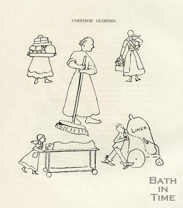 Cartoon of corridor glimpses at Bath War Hospital, 1917