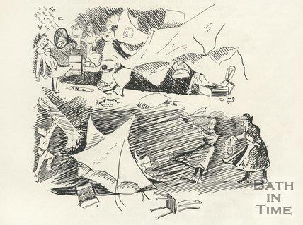 Cartoon of Bath War Hospital events, 1917