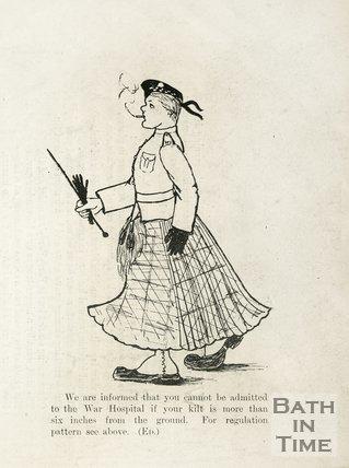 Cartoon of a soldier in a kilt at Bath War Hospital, 1917
