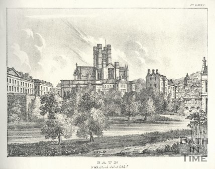 View of Bath Abbey across the River Avon c.1830