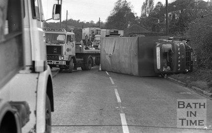 Lorry Crash on the old Gloucester Road at Swainswick, near Bath 2 November 1977