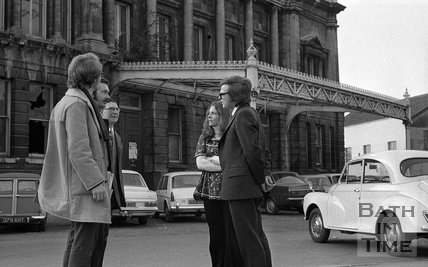 Liberal MP Graham Tope and his wife visiting the Green Park station develoment site in Bath, 10 March 1973