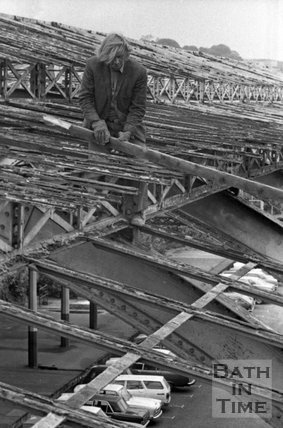 Removing rotting timbers from the roof of Green Park Station, 14 May 1975