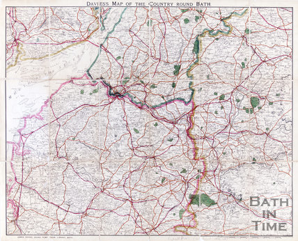 Davies's map of the country around Bath, 1890