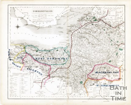 Map of Somersetshire by J &C Walker, 1850