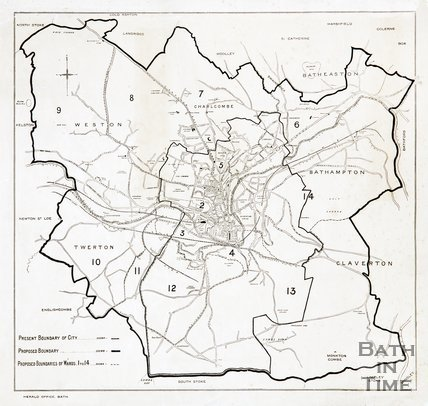 Map of Bath and district, 1910