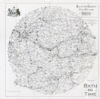 Map of the country sixteen miles around Bath, 1892/1893
