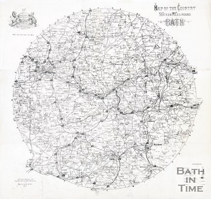 Map of the country sixteen miles around Bath, 1898