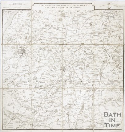 A map of the country around the city of Bath to the extent of 15 miles and upwards, 1832