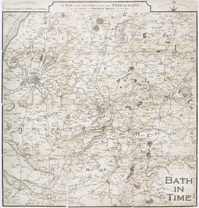 A map of the country around the city of Bath to the extent of 15 miles and upwards, 1814