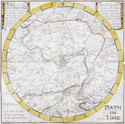 Map of five miles around the city of Bath, 1805