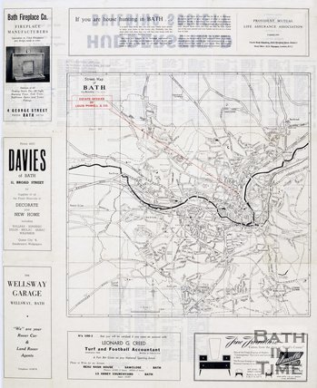 Street Map of Bath, 1950