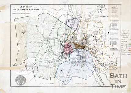 1876 Map of The City & Borough of Bath