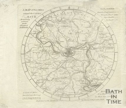 A Map of Five Miles round the City of Bath, 1815 - 1841