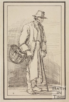 Rustic figure with basket and stick sketched from life by Thomas Barker, c.1800