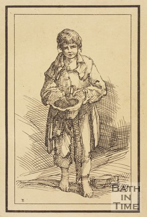 Rustic figure begging boy holding out hat sketched from life by Thomas Barker, c.1800
