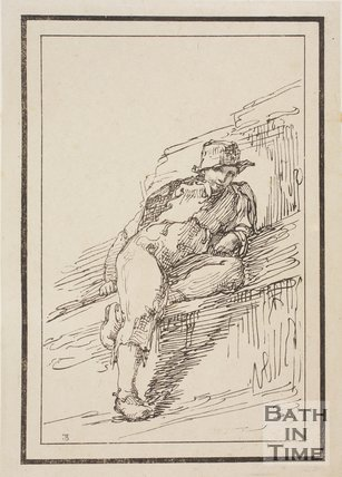Rustic figure lounging on rock sketched from life by Thomas Barker, c.1800
