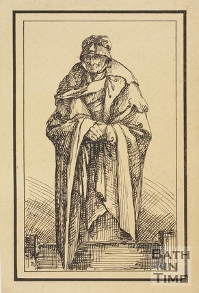 Rustic figure old lady with cloak sketched from life by Thomas Barker, c.1800