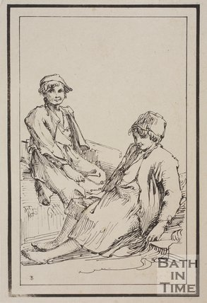 Rustic figure two girls sketched from life by Thomas Barker, c.1800
