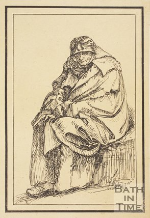 Rustic figure old cloaked woman sketched from life by Thomas Barker, c.1800