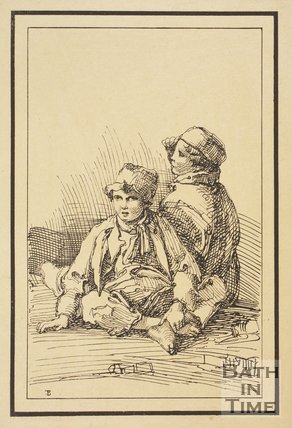 Rustic figure two boys sketched from life by Thomas Barker, c.1800